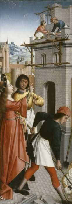 Saint Barbara Directing the Construction of a Third Window in Her Tower | Dutch School th Century   Unknown | Oil Painting