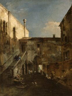 A Venetian Courtyard | Francesco Guardi | Oil Painting