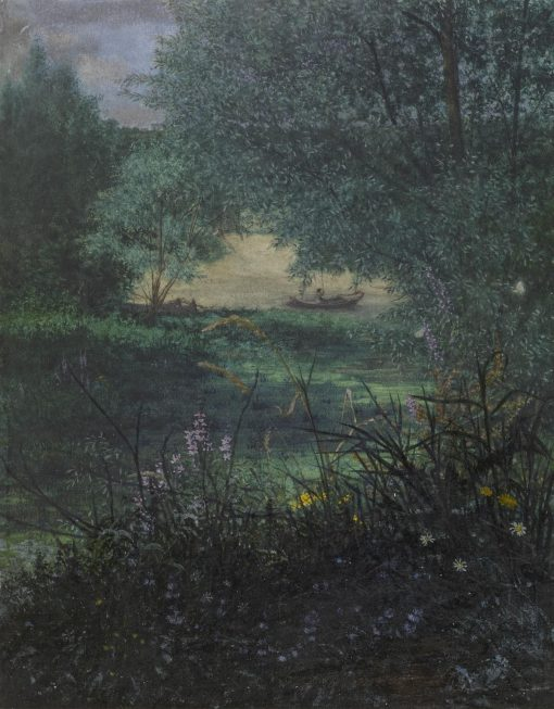 Fisherman on a Pond with Willow Trees   LEon Bonvin   Oil Painting