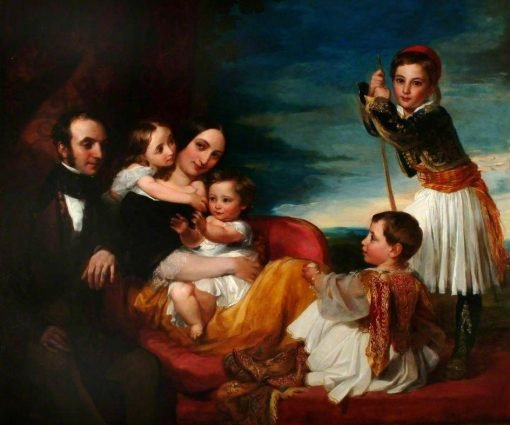 Alexander Constantine Ionides with His Wife and Children | George Frederic Watts | Oil Painting