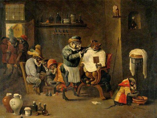 A Monkey Barber - Surgeon's Establishment | David Teniers II | Oil Painting