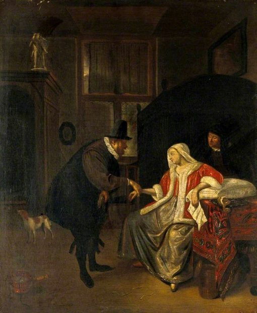 A Physician Taking the Pulse of a Lovesick Girl   Jan Havicksz. Steen   Oil Painting