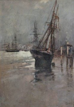 A Ship Beached at Low Tide | Sir Frank William Brangwyn | Oil Painting