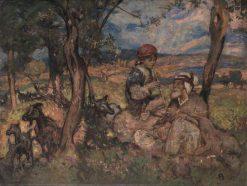 The Piping Boy | Sir Frank William Brangwyn | Oil Painting