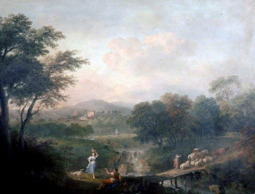 Landscape with Figures and Sheep on a Bridge | Francesco Zuccarelli | Oil Painting