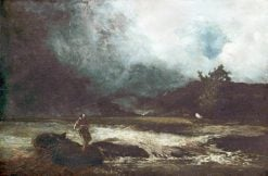 Stormy Landscape by a River in Spate | William Edward Dighton | Oil Painting