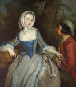 Girl with a Birdcage and a Suitor | Antoine Pesne | Oil Painting