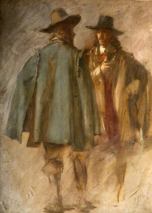 Two Standing Men (study for 'The Flight of the Five Members) | John Seymour Lucas | Oil Painting