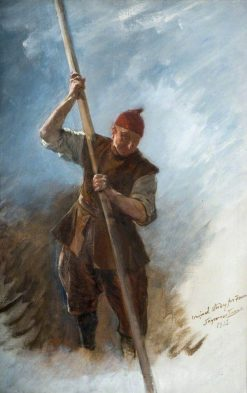 A Man with a Barge Pole (study for 'The Flight of the Five Members') | John Seymour Lucas | Oil Painting