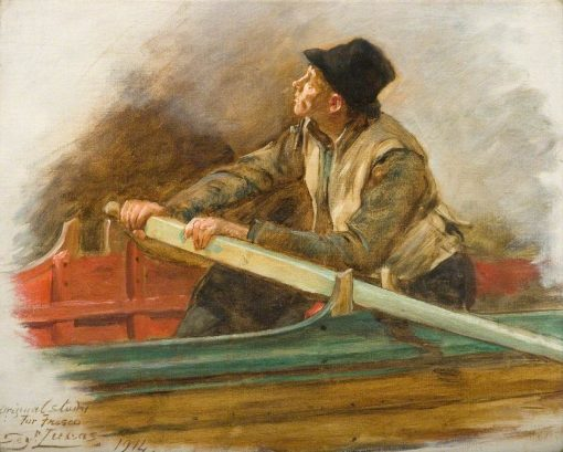 A Man Rowing (study for 'The Flight of the Five Members') | John Seymour Lucas | Oil Painting