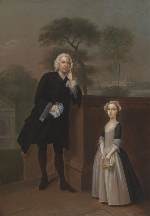 An Unknown Man with His Daughter   Arthur Devis   Oil Painting