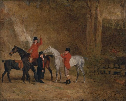Foxhunting Scene(also known as Fox Hunting: Two Gentlemen with a Groom: The Eglinton Family)   Benjamin Marshall   Oil Painting