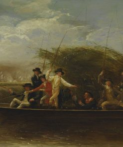 Gentlemen Fishing(also known as The Fishing Party - a Party of Gentlemen fishing from a Punt) | Benjamin West | Oil Painting