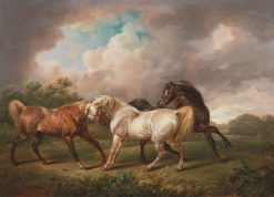 Three Horses in a Stormy Landscape | Charles Towne | Oil Painting