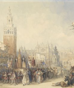 Plaza Real and Procession | David Roberts | Oil Painting