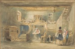 Interior of Pitlessie Mill with a Man Sieving Corn | David Wilkie | Oil Painting