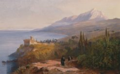 Mount Athos and the Monastery of Stavronikétes | Edward Lear | Oil Painting