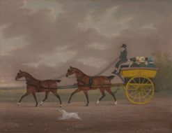 A Gentleman Driving Tandem to a Jaunting Car   Edwin Cooper   Oil Painting