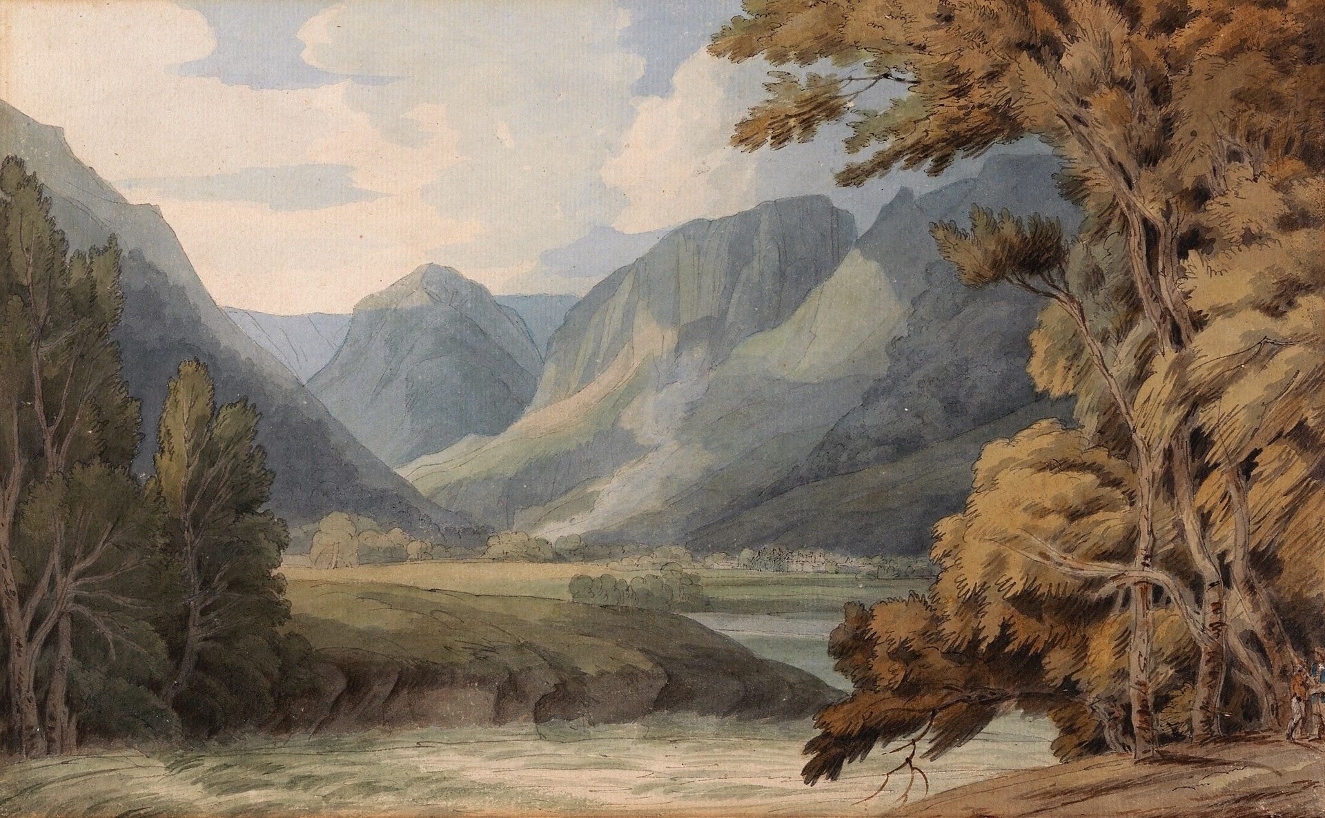 View in Borrowdale of Eagle Crag and Rosthwaite | Francis Towne | Oil Painting