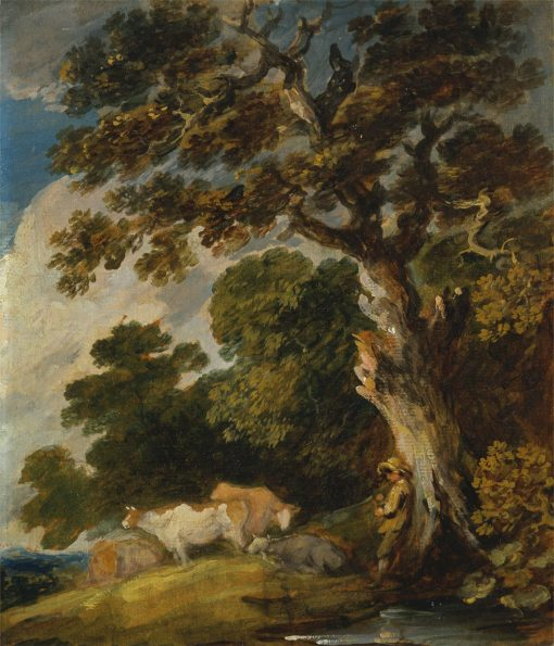 A Wooded Landscape with Cattle and Herdsman | Gainsborough Dupont | Oil Painting