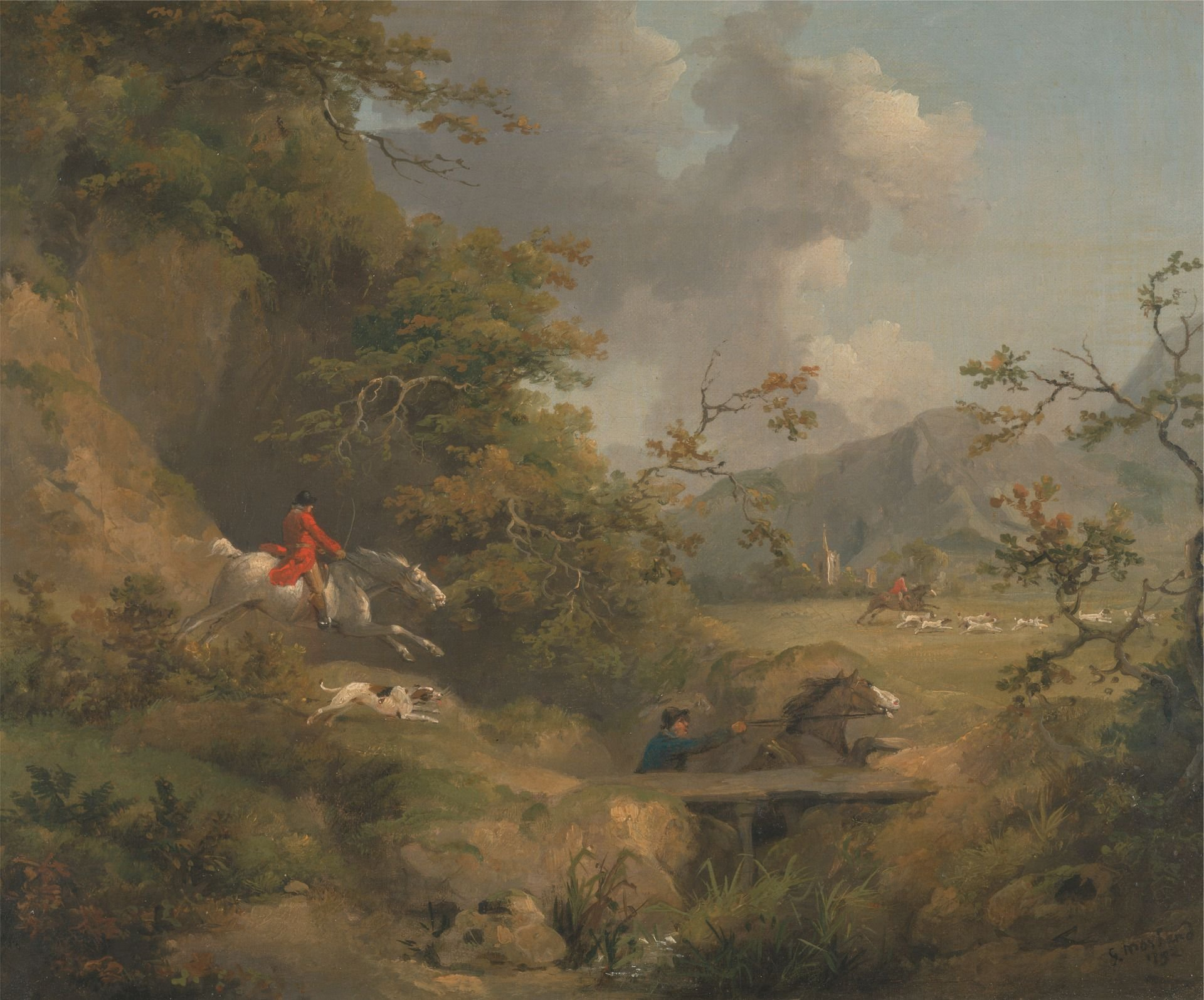 Foxhunting in Hilly Country | George Morland | Oil Painting