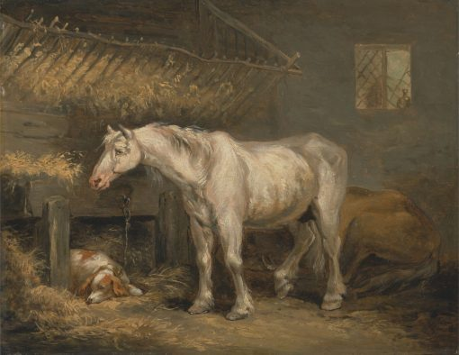 Old Horses with a Dog in a Stable | George Morland | Oil Painting