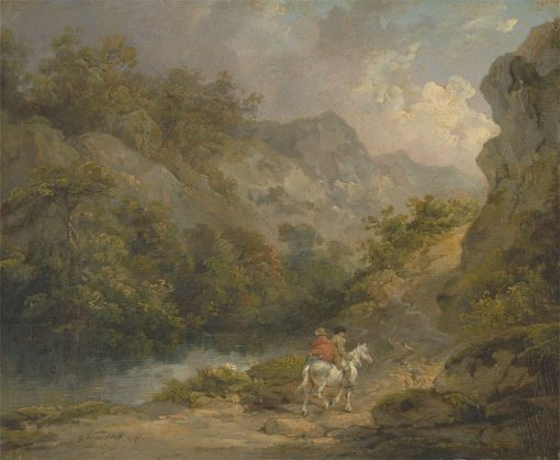 Rocky Landscape with Two Men on a Horse | George Morland | Oil Painting