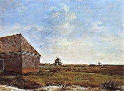 Newmarket Heath with the King's Stables Rubbing House at the Finish of the Beacon Course | George Stubbs | Oil Painting