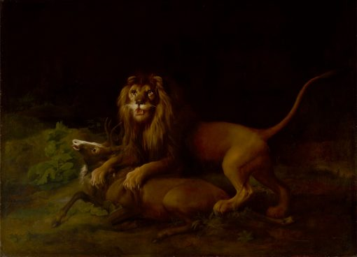 A Lion Attacking a Stag   George Stubbs   Oil Painting