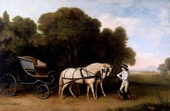 Phaeton with a Pair of Cream Ponies and an Stable-Lad | George Stubbs | Oil Painting