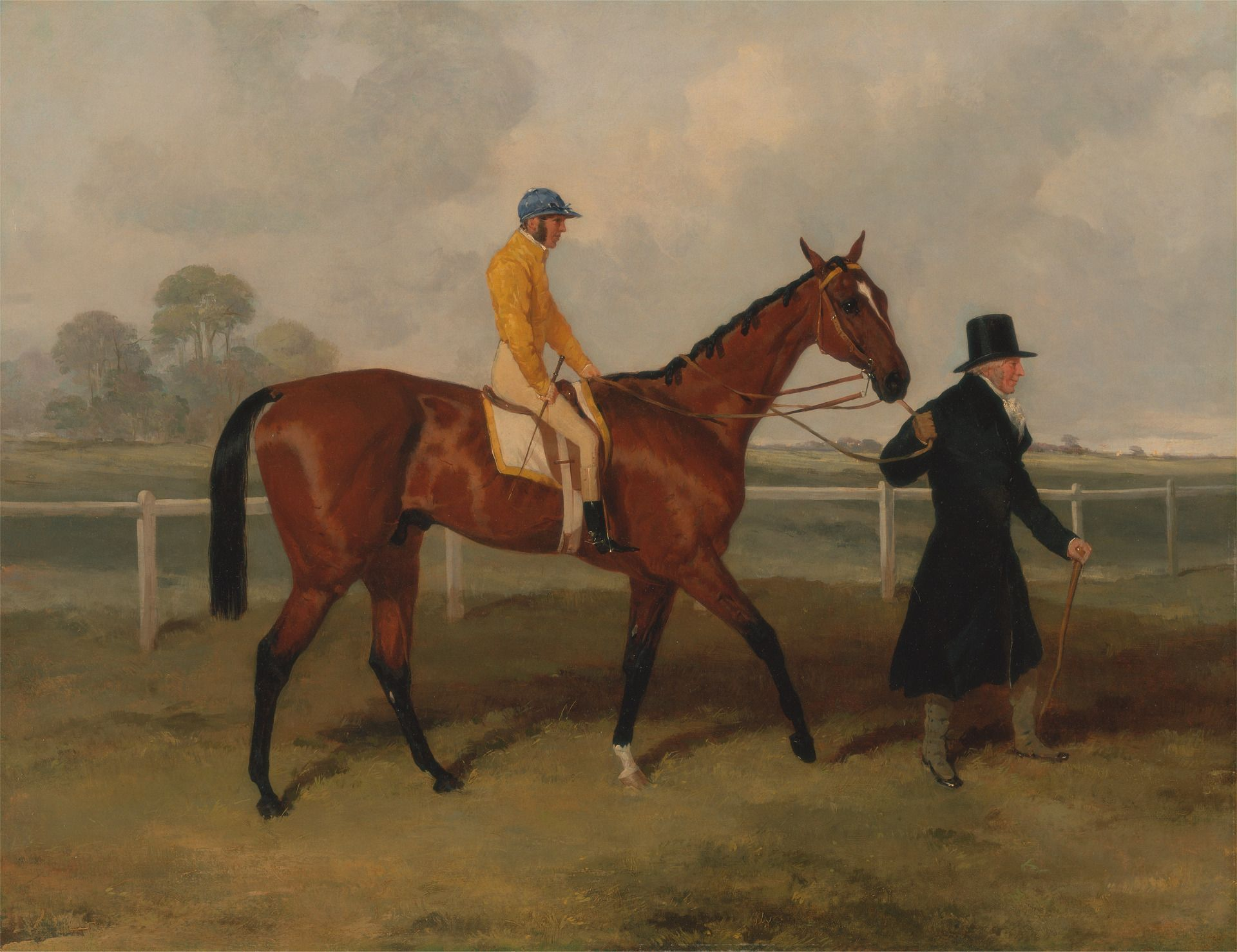 Sir Tatton Sykes Leading in the Horse 'Sir Tatton Sykes' with William Scott Up | Harry Hall | Oil Painting
