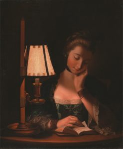 Woman Reading by a Paper-Bell Shade | Henry Robert Morland | Oil Painting