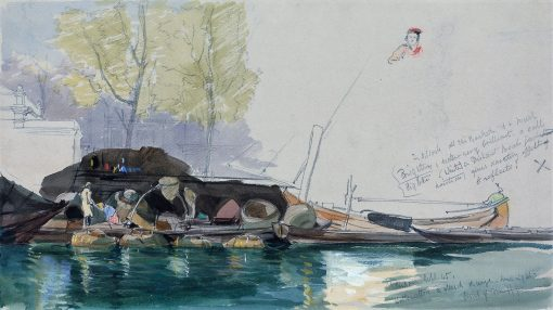 Barges on a Canal in Rotterdam   James Holland   Oil Painting