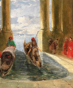 Venetian Dignitaries Boarding Gondolas | James Holland | Oil Painting