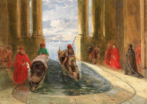 Venetian Dignitaries Boarding Gondolas | James Holland | Oil Painting