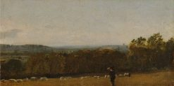 A Shepherd in a Landscape Looking across Dedham Vale towards Langham | John Constable | Oil Painting