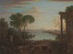 Classical Landscape with Figures and Animals: Dawn | John Wootton | Oil Painting
