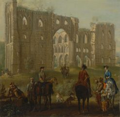 Riders Pausing by the Ruins of Rievaulx Abbey(also known as Rievaulx Abbey) | John Wootton | Oil Painting