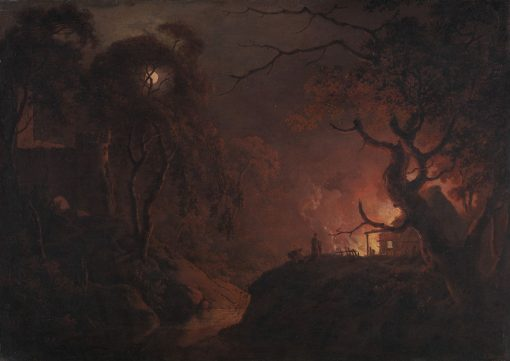 Cottage on Fire at Night | Joseph Wright of Derby | Oil Painting