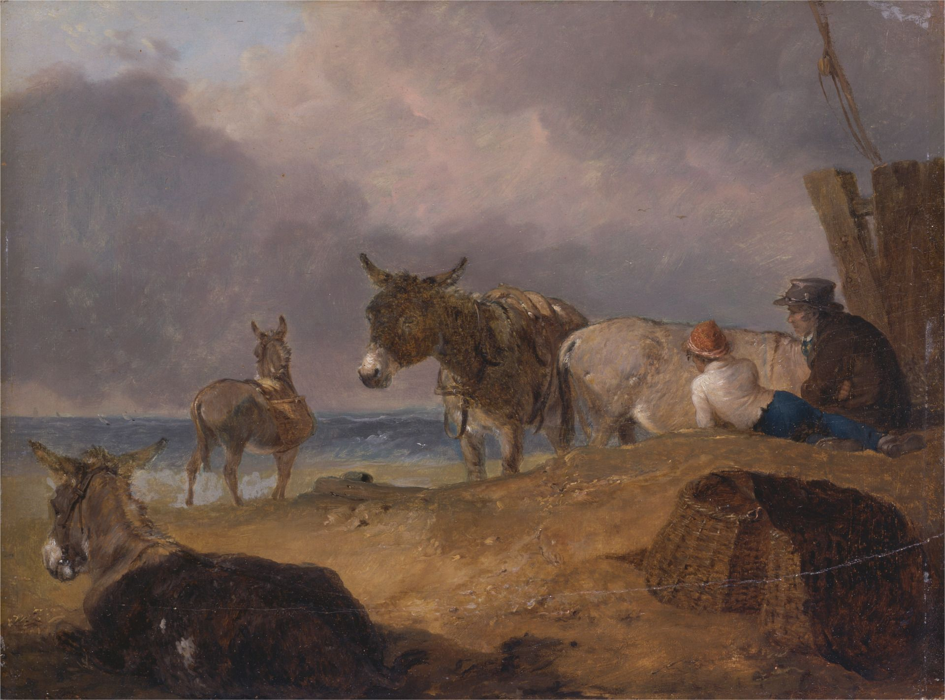 Donkeys and Figures on a Beach | Julius Caesar Ibbetson | Oil Painting