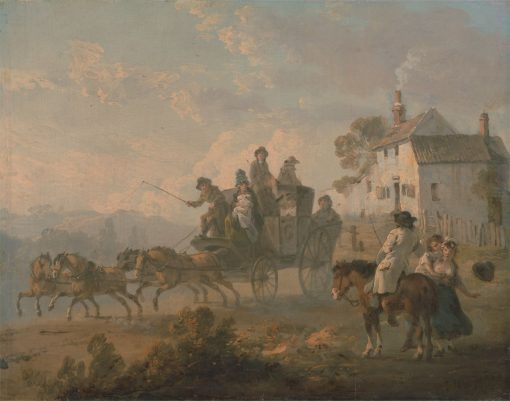 A Stage Coach on a Country Road(also known as The Departure of a Coach) | Julius Caesar Ibbetson | Oil Painting
