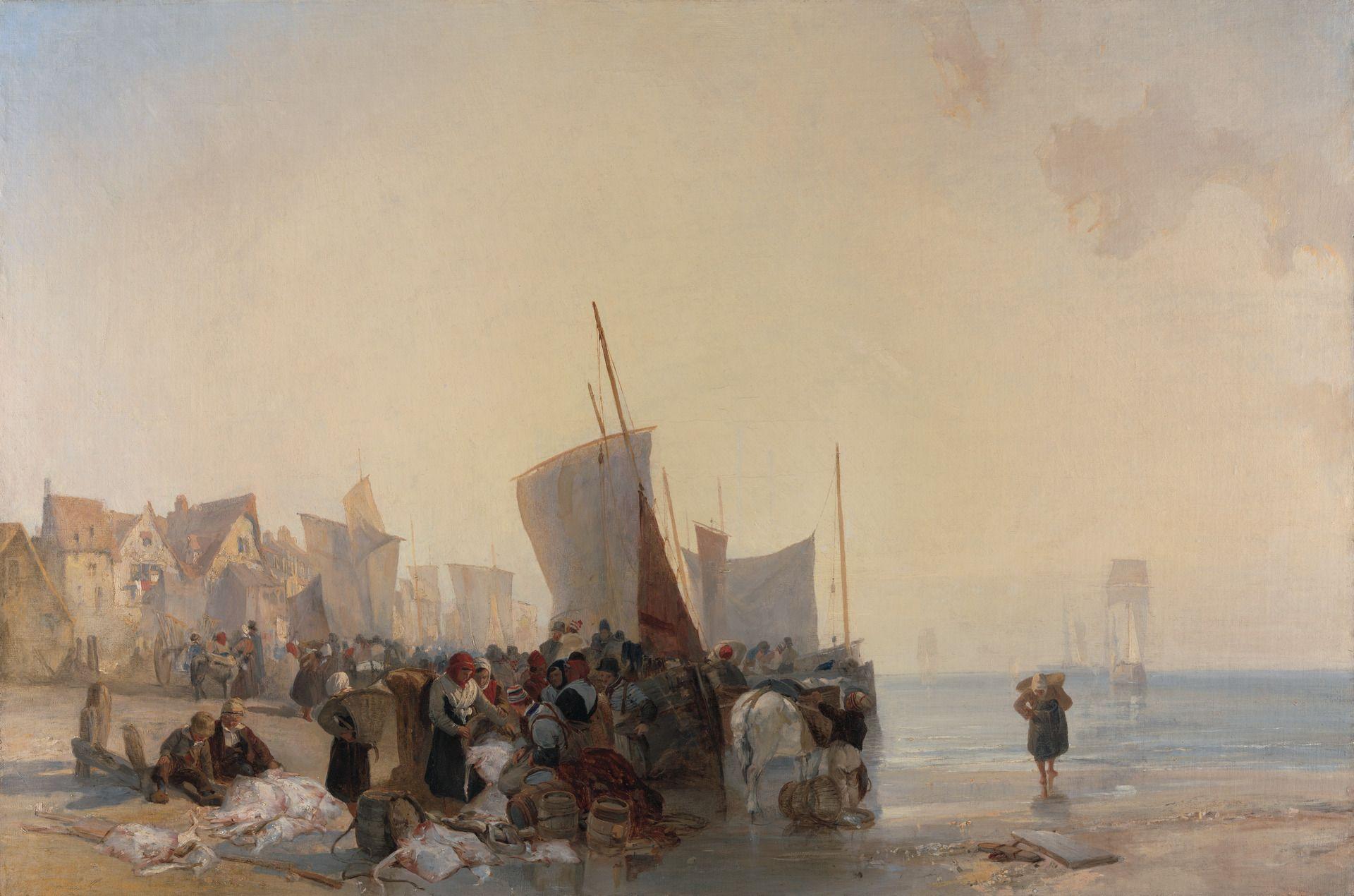 A Fish Market near Boulogne | Richard Parkes Bonington | Oil Painting