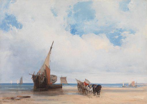 Beached Vessels and a Wagon near Trouville | Richard Parkes Bonington | Oil Painting