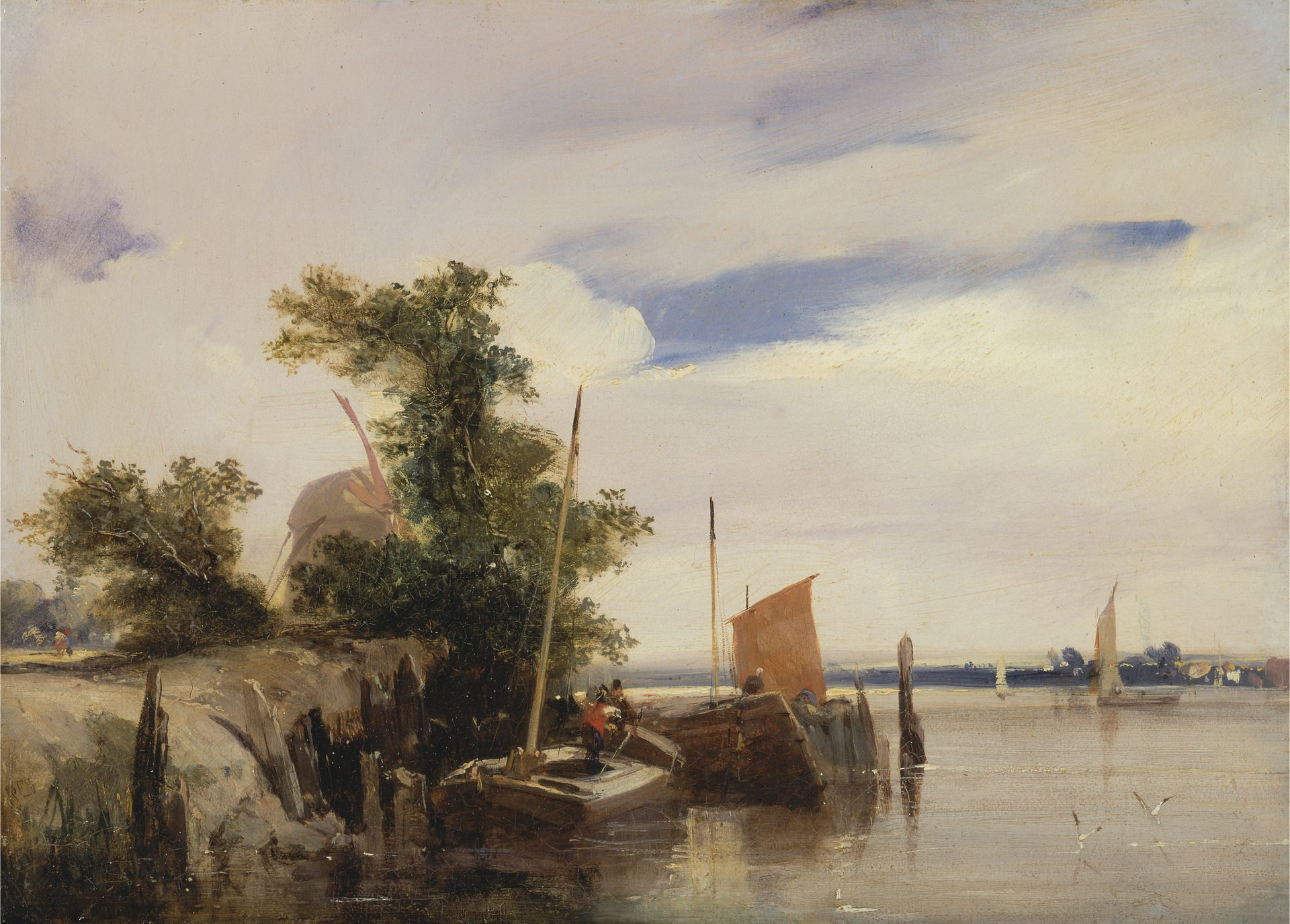 Barges on a River | Richard Parkes Bonington | Oil Painting