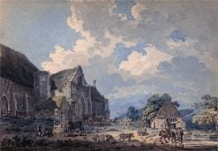 The Tithe Barn at Abbotsbury with the Abbey on the hill | Thomas Girtin | Oil Painting