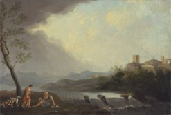 An Imaginary Italianate Landscape with Classical Figures and a Waterfall | Thomas Jones | Oil Painting
