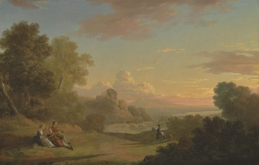An Imaginary Landscape with a Traveller and Figures Overlooking the Bay of Baiae | Thomas Jones | Oil Painting