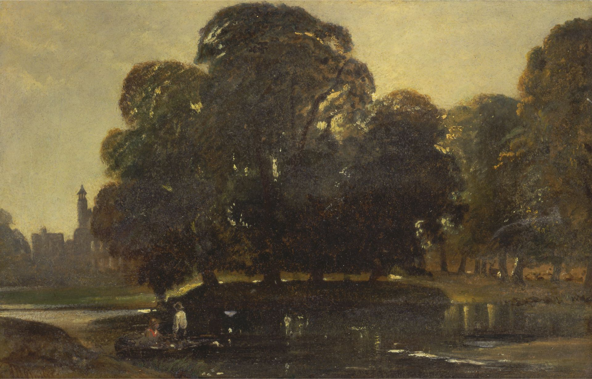 A View of Eton and the Fellows Eyot | William James Muller | Oil Painting