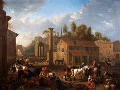 Soldiers Resting in a Village | Pieter van Bloemen | Oil Painting