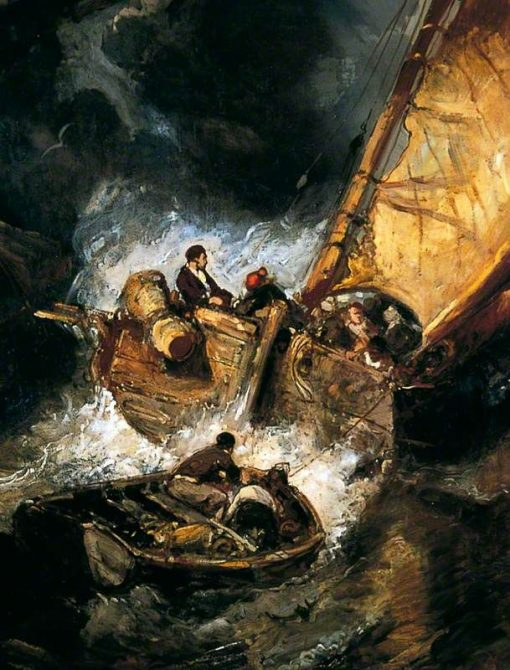 Boat in a Storm   Eugene Isabey   Oil Painting